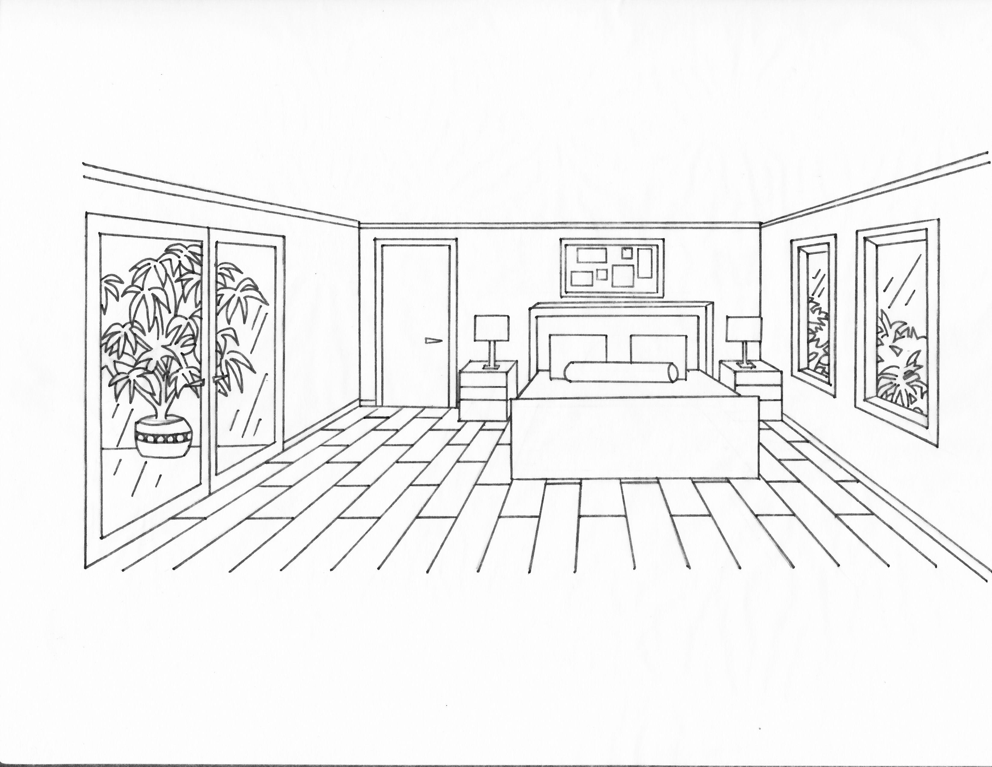 Bedroom drawing perspective - 1 Point Perspective