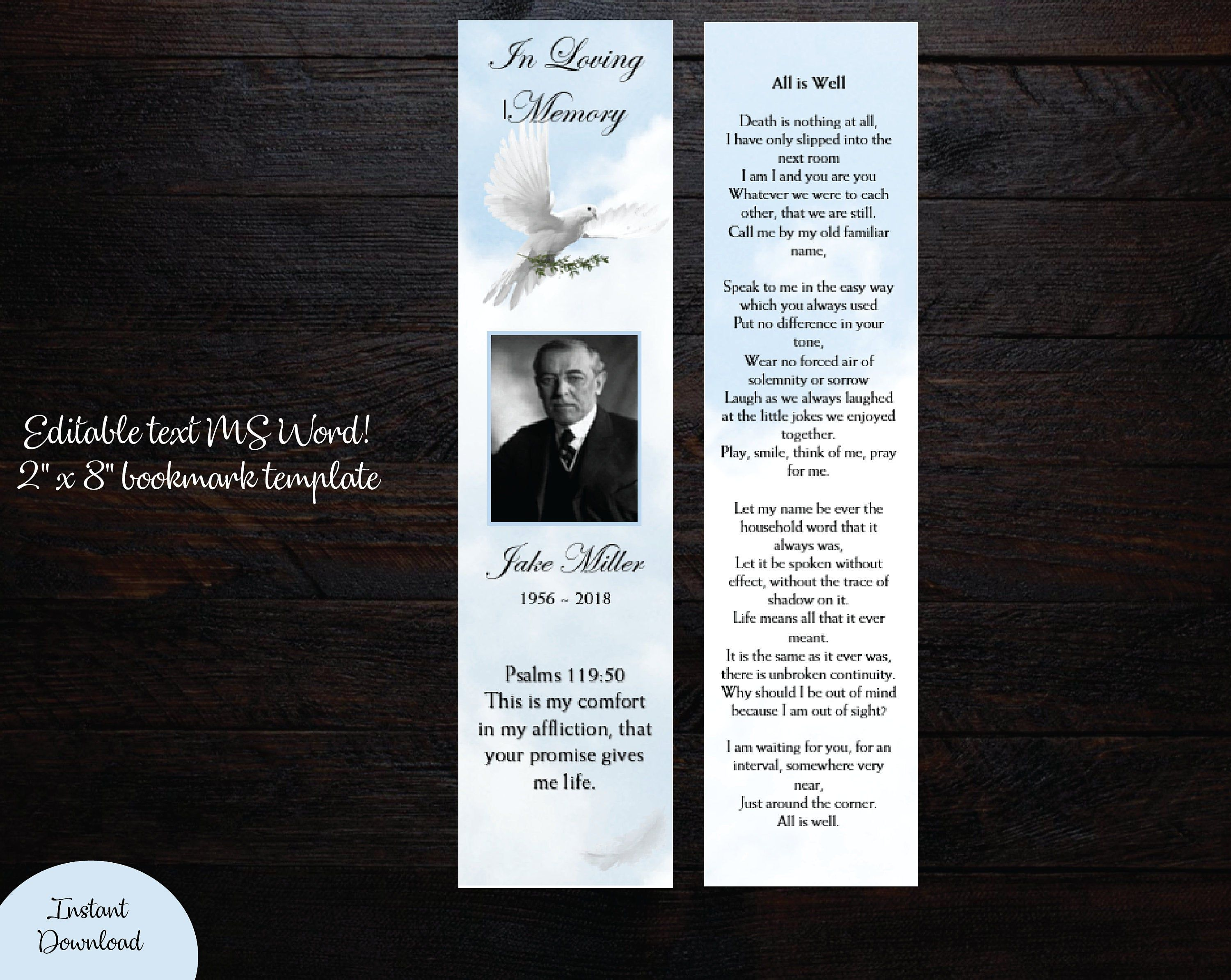 Diy White Clouds And Dove Funeral Bookmark Template Memorial