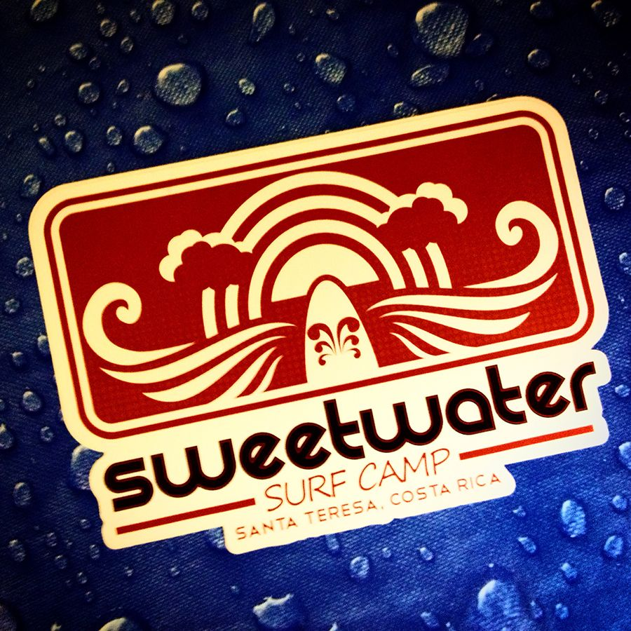 Sweetwater surf camp stickers custom die cut white border cut out