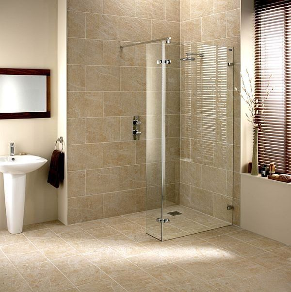 Modern Wet Room Design Ideas Neutral Color Floor Wall Tiles Glass Partition Shower Area