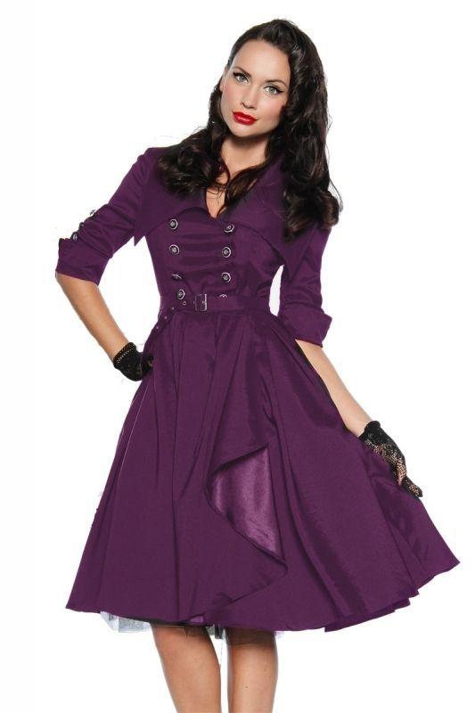 Rockabilly Kleid Lila Neu Retro 50er 60er Jahre Style