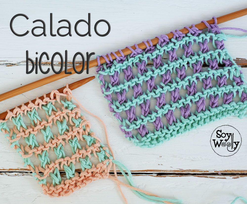 Punto Calado Dos Colores en dos agujas o palillos | Puntos, Color y ...
