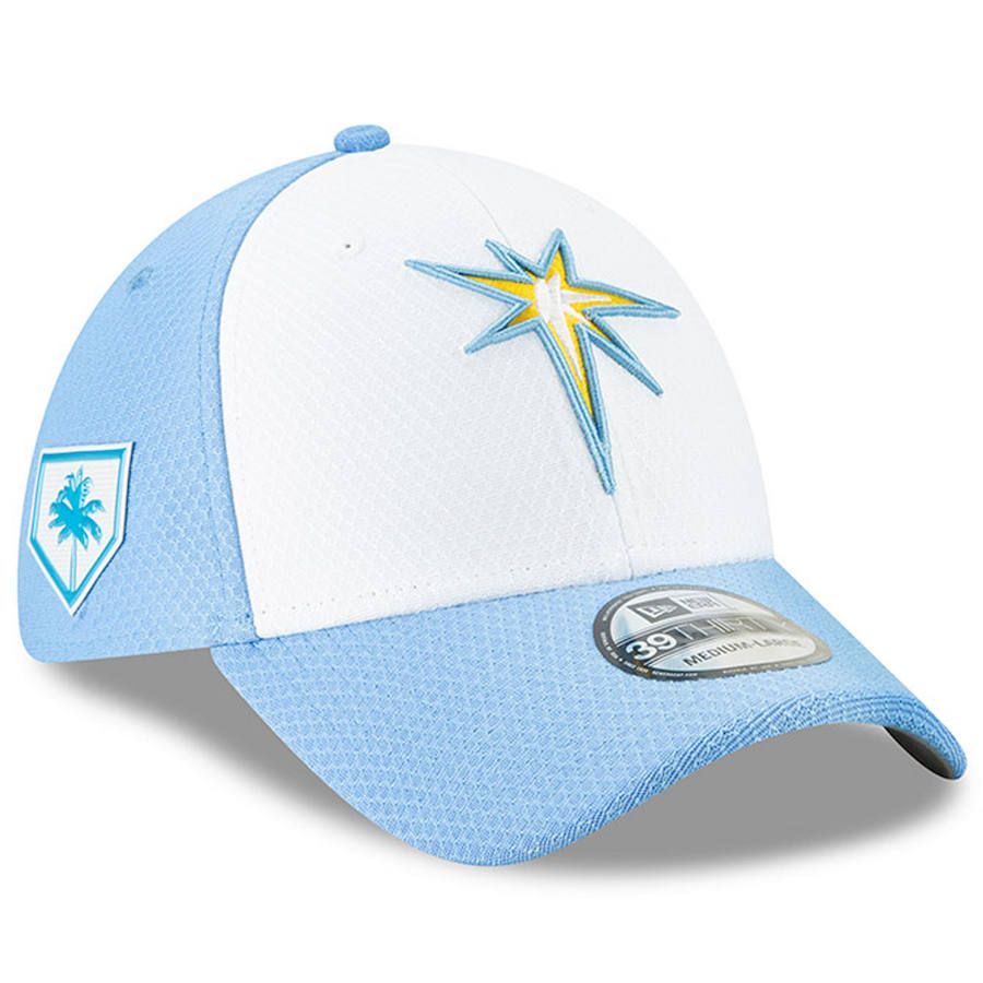 d73e77f157e Men s Tampa Bay Rays New Era White 2019 Spring Training 39THIRTY Fitted Hat