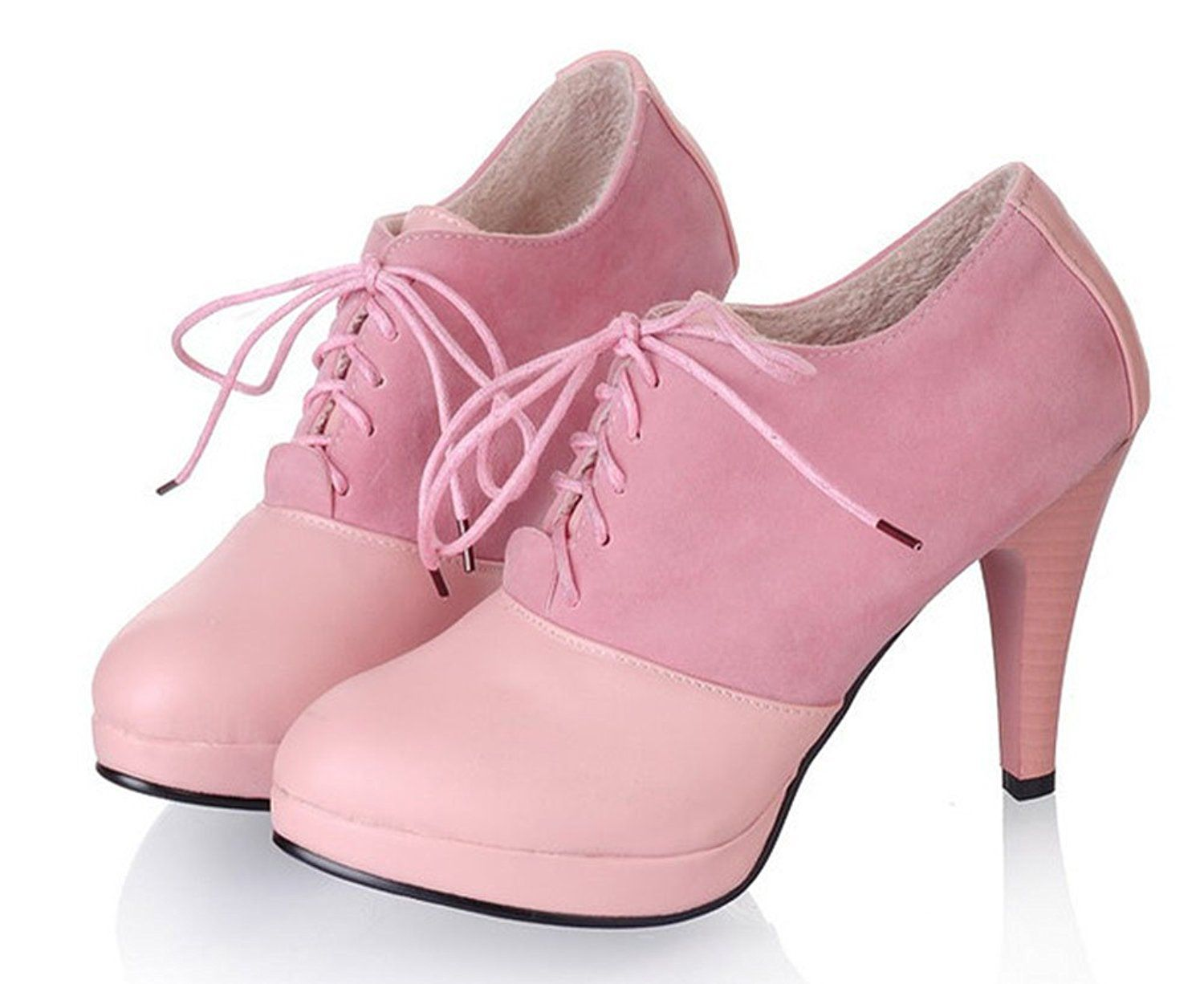 Women's Elegant Round Toe Dress Stiletto High Heels Lace Up Platform Pumps Booties Ankle Boots Shoes