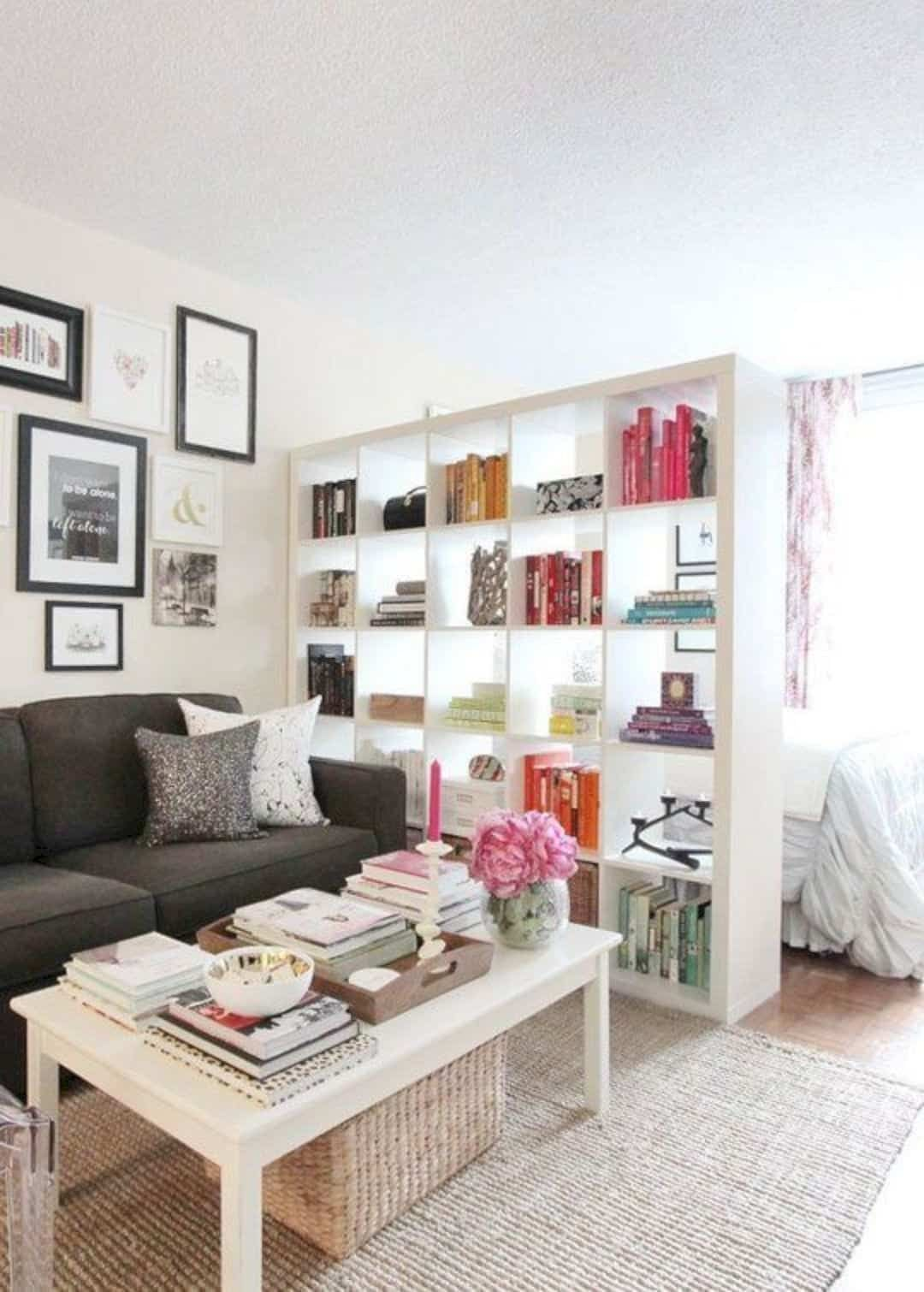 15 Furniture Ideas To Enhance The Interior Of Your Studio Apartment In 2020 Small Apartment Living Room Studio Apartment Divider Small Apartment Decorating