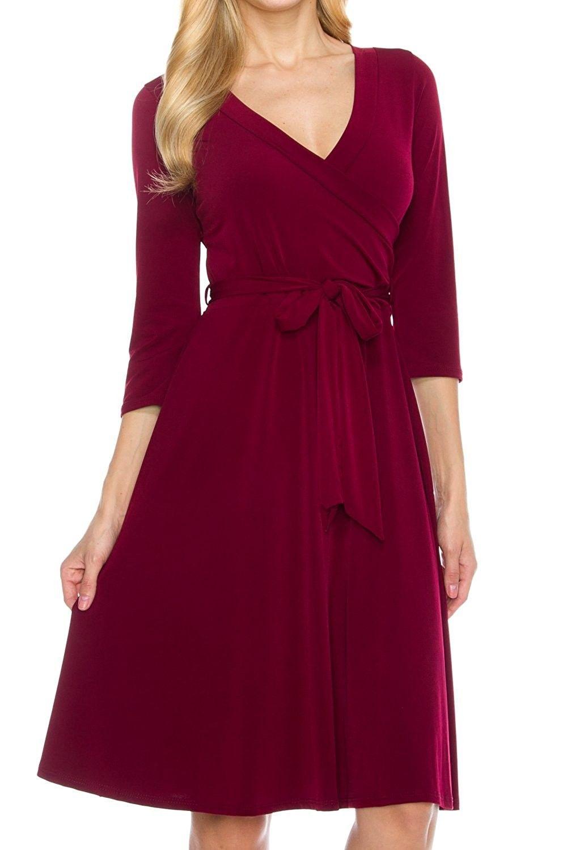Klkd Women S 3 4 Sleeve Knee Length Self Tie Faux Wrap Dress Made In U S A Burgundy Ck12nr1xsvp Wrap Dress Casual Dresses For Women Fashion Clothes Women [ 1500 x 1000 Pixel ]