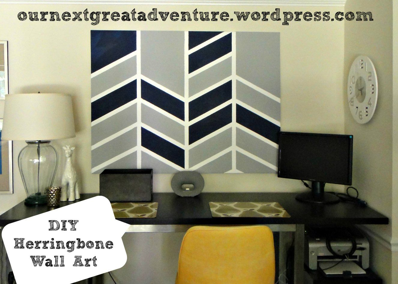 Diy herringbone canvas wall art navy u grey thissarahloves wall