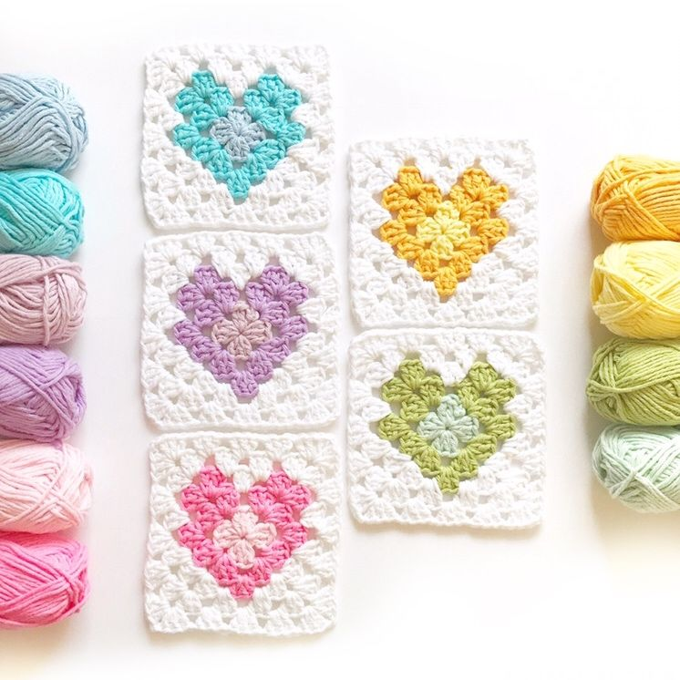 Heart Granny Squares – The Jellybean Junction Blog | Crochet | Pinterest