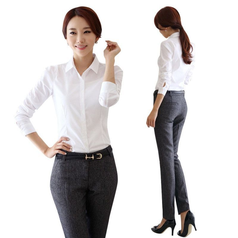 Summer Button Blouse Women Office Shirt Career Ladies Cotton Business Tops.  Long ... baa86b0f6
