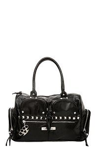 Rock Rebel - Black Pyramid Stud Cargo Satchel | Goth Handbags