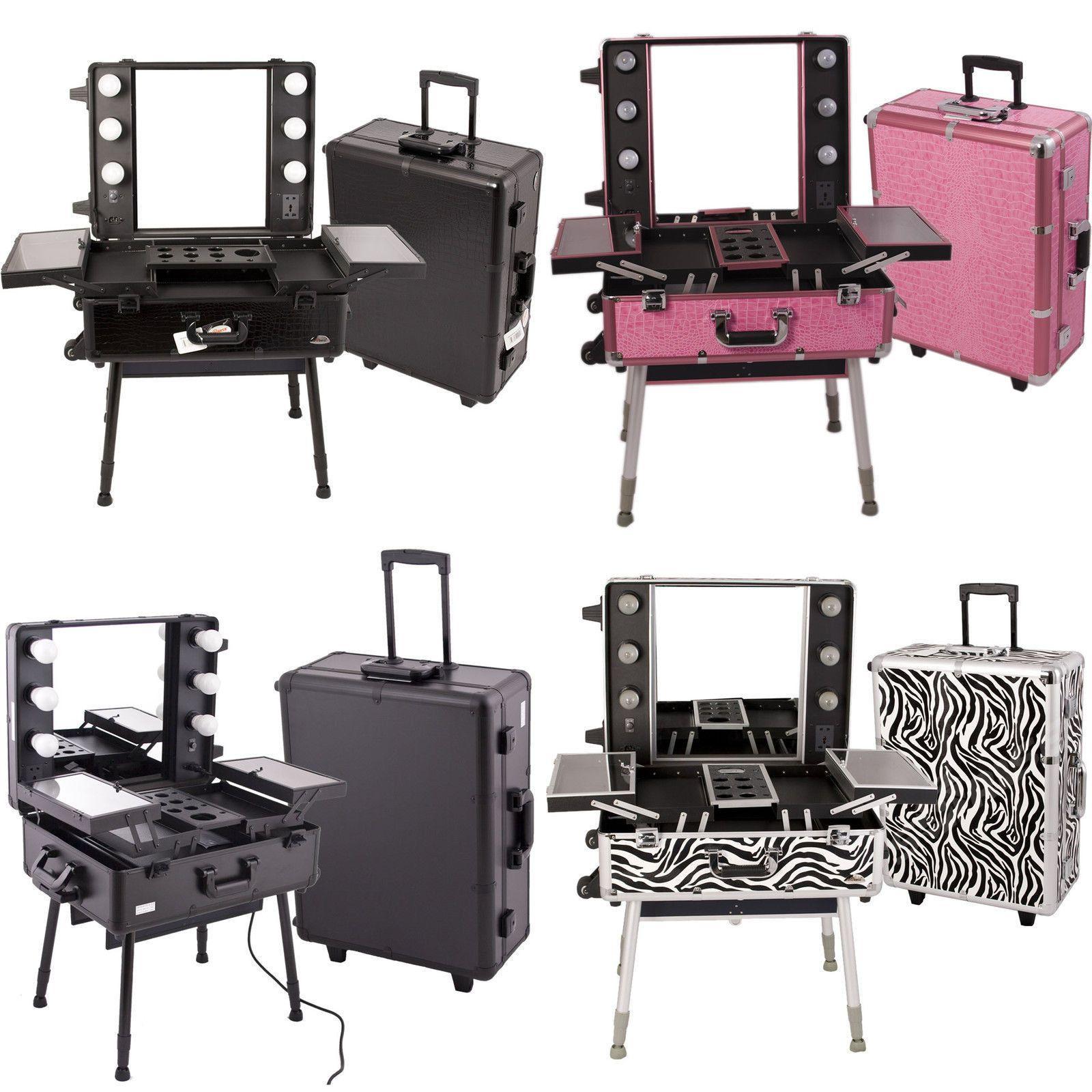 Makeup Studio Portable Cosmetic Rolling Station Case w Mirror 6 CFL Light C6010 | eBay