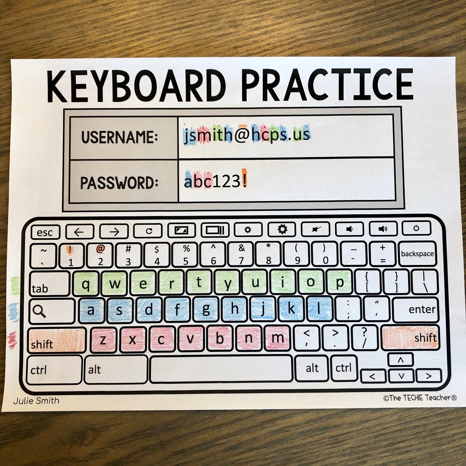 Chromebook Keyboard Printable Practice Sheets Computer Lab