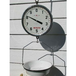 vintage detecto hanging produce market or grocery scale wporcelain enamel pan - Detecto Scales
