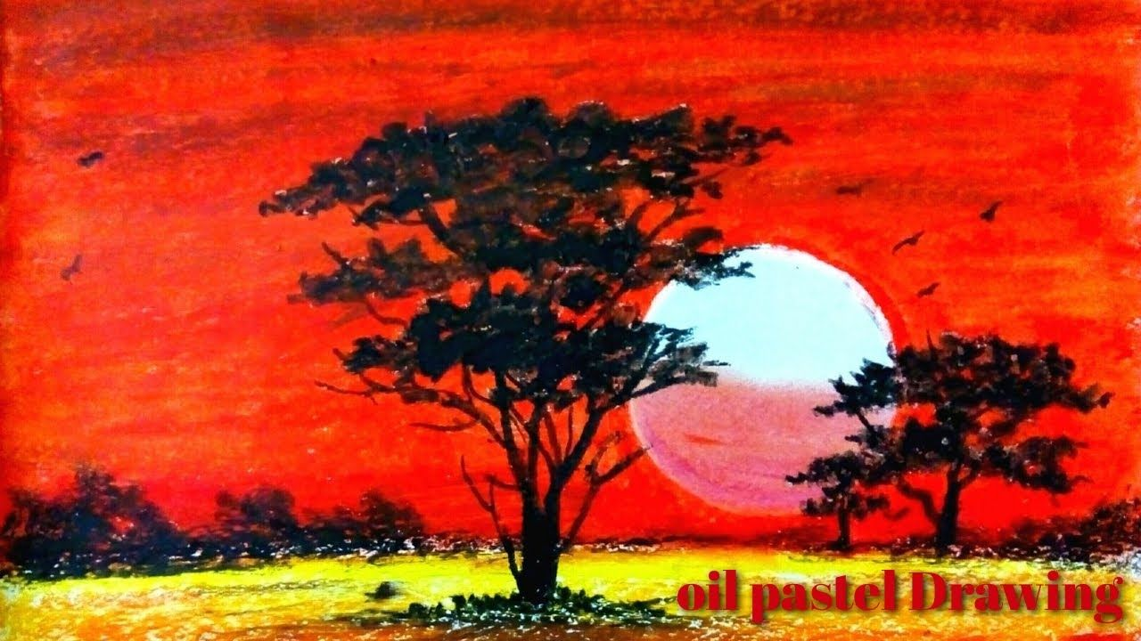 Scenery Drawing With Oil Pastel Sunset Drawing Easy Sunset Scenery D In 2020 Pastel Sunset Sunset Drawing Easy Oil Pastel Drawings