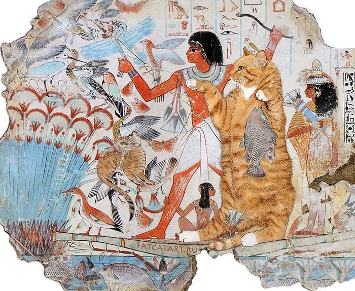 Tomb of Nebamun, Cats Hunting in the Marshes