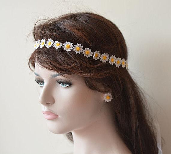 Bridal Hair Accessories Boho : Wedding hair accessories crochet daisy flower headband