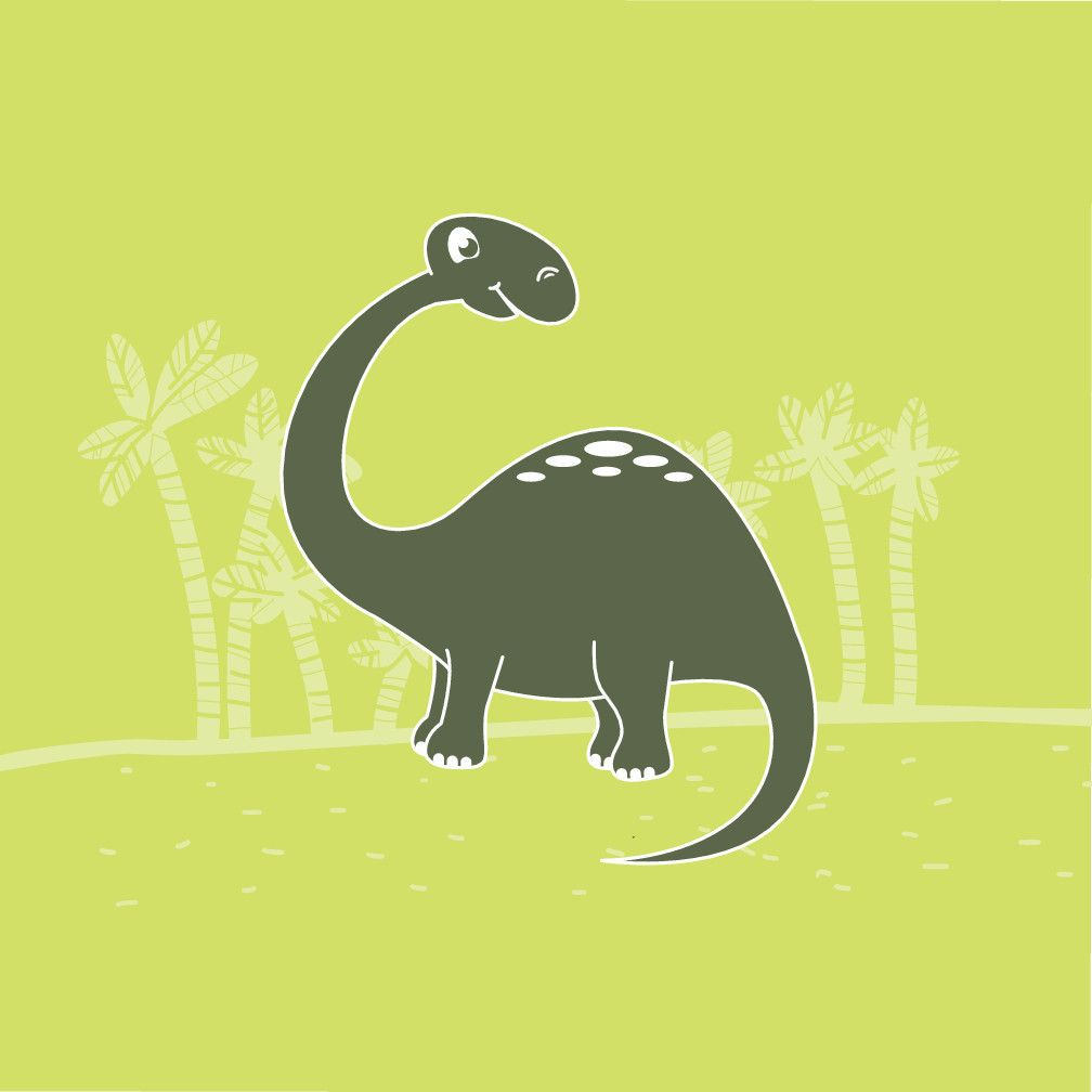 Green Brontosaurus Dinosaur Canvas Wall Art | Nursery