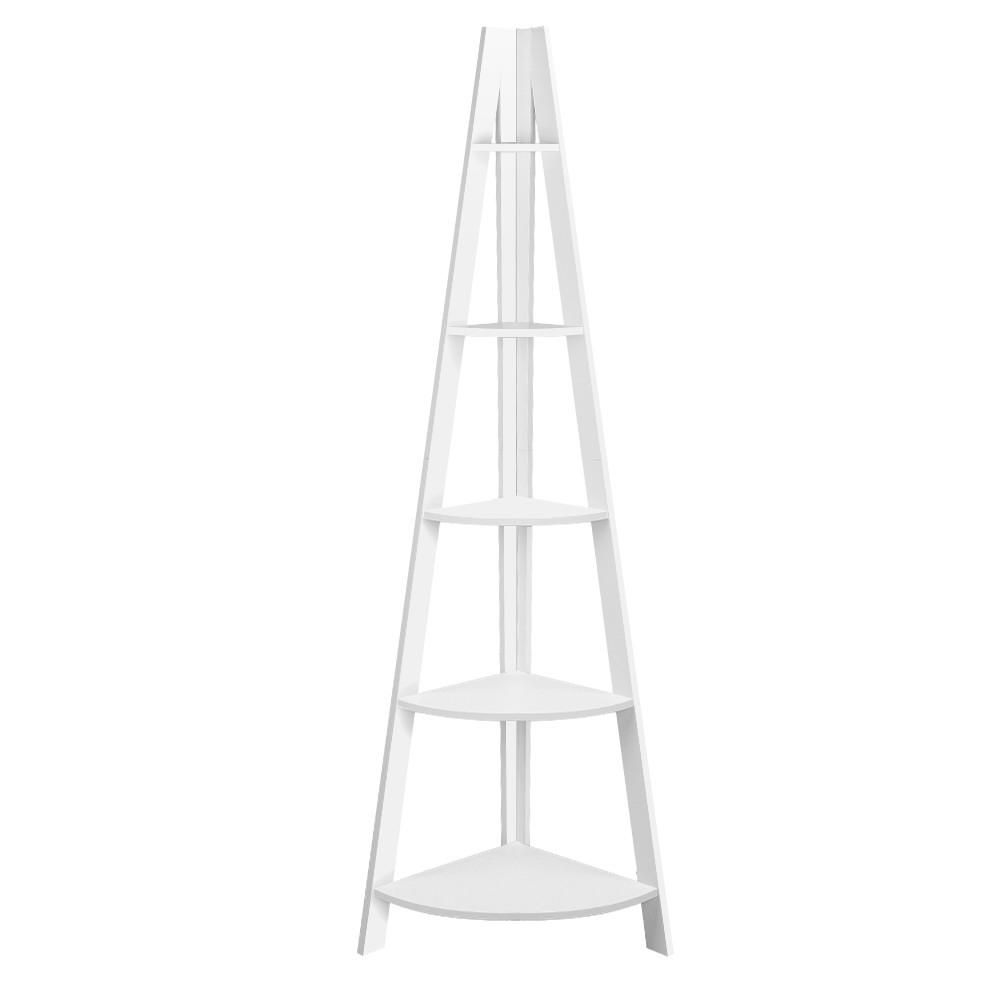 tier corner ladder bookshelf white furnigladcortwh