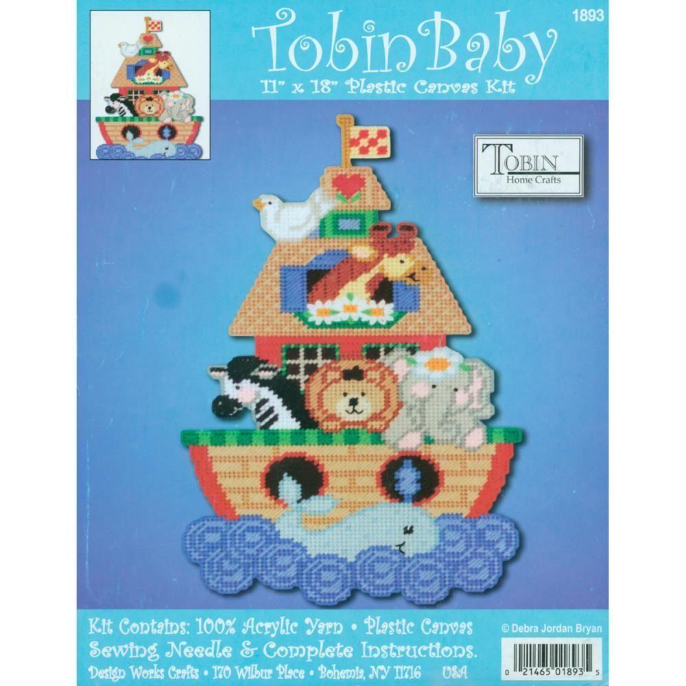 Tobin Baby NOAHS ARK WALL HANGING Plastic Canvas Kit ANIMALS Home Crafts