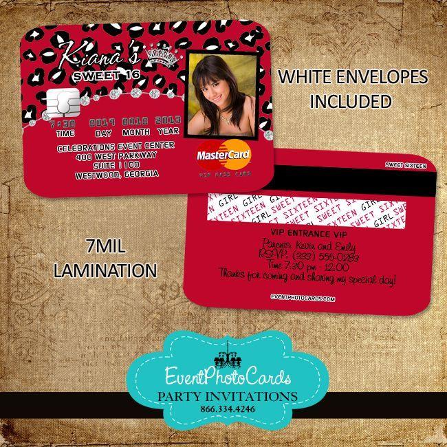 Credit Card Invitation Red Cheetah (con Imágenes)