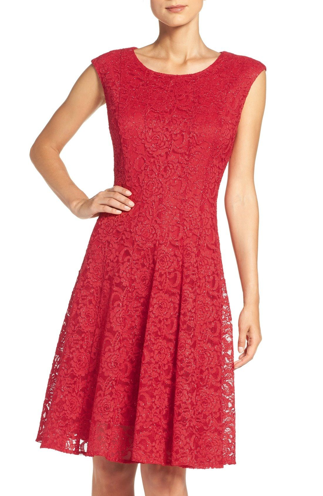01ba402e Free shipping and returns on Chetta B Sparkle Lace Fit & Flare Dress at  Nordstrom