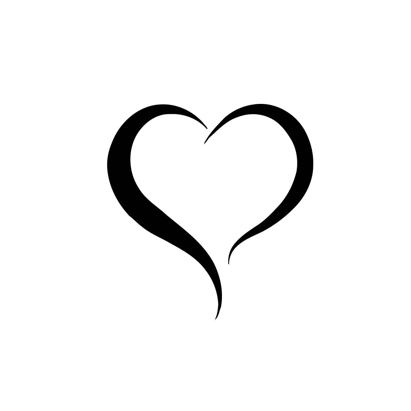 Two Lines Heart Vinyl Wall Art Black