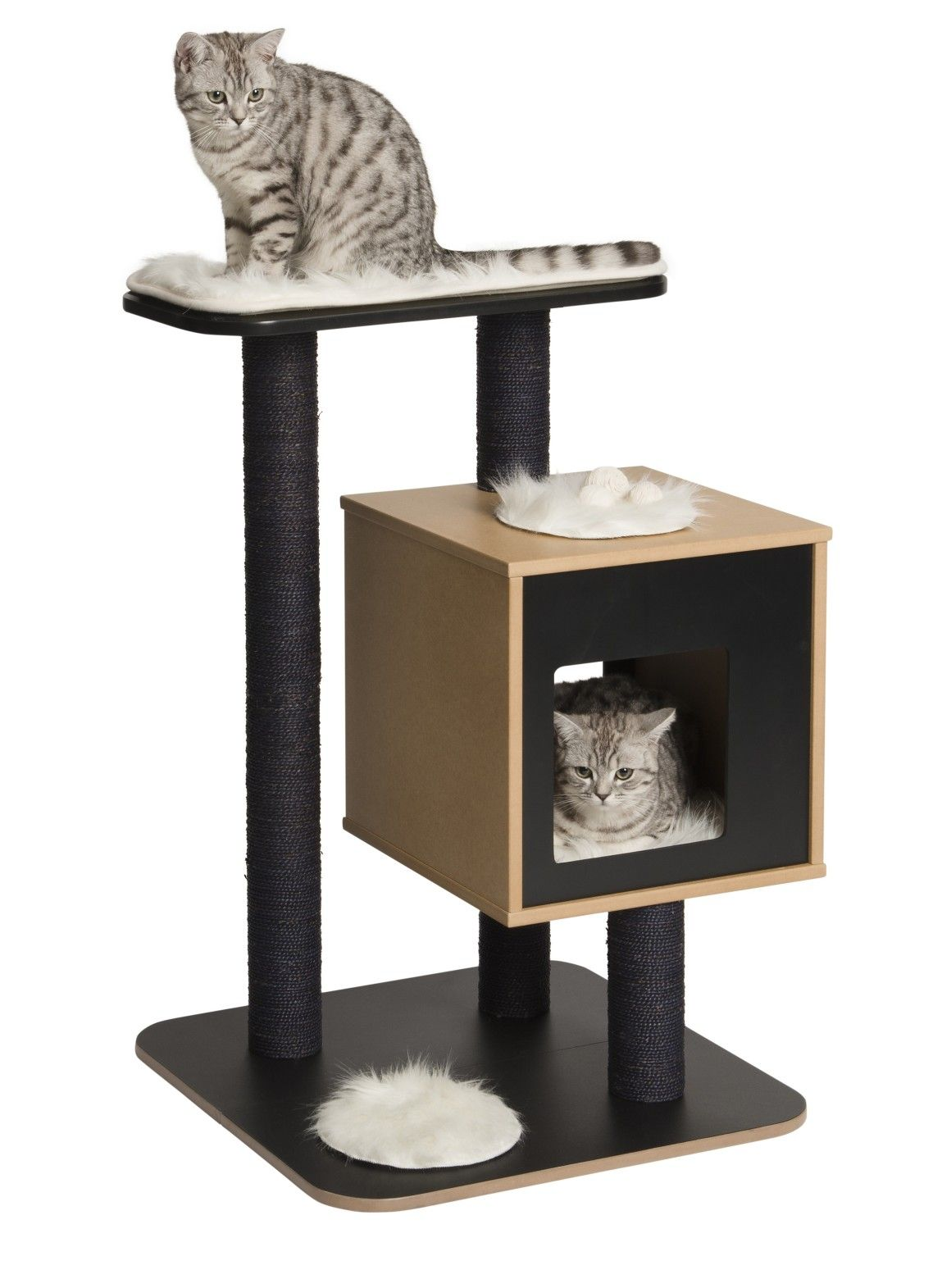 Astonishing design ideas of unique cat trees with black brown colors cat housing and black perch also scratching post as well as tree scratching post also