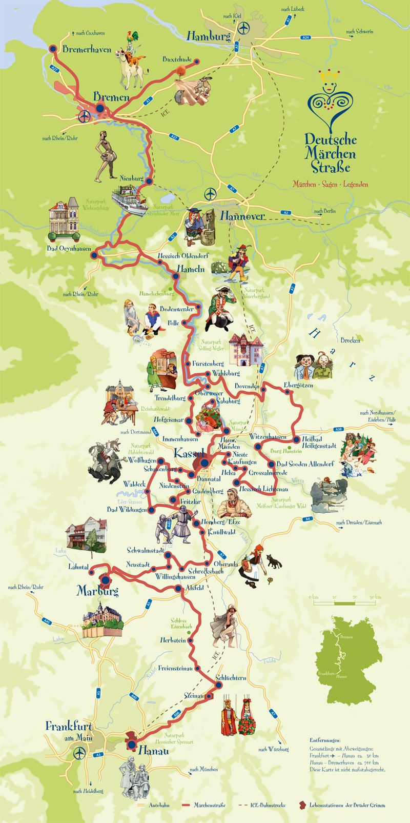 grimm brothers fairy tales route map next years summer holiday