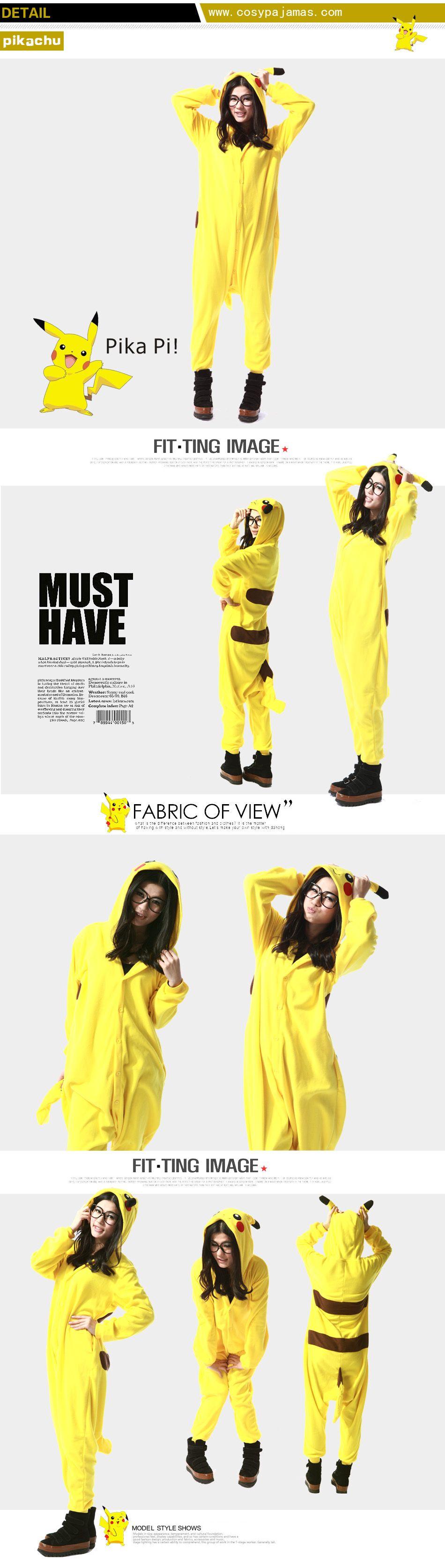 Animal Costume Pikachu Adult Onesie Kigurumi Pajamas