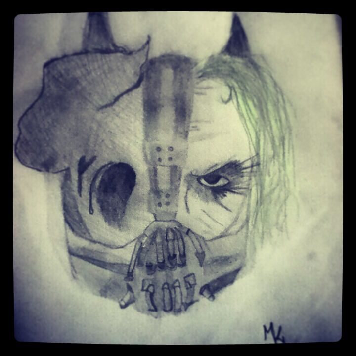 This Is My Pencil Drawing Of The Dark Night Trilogy Symbol Bane