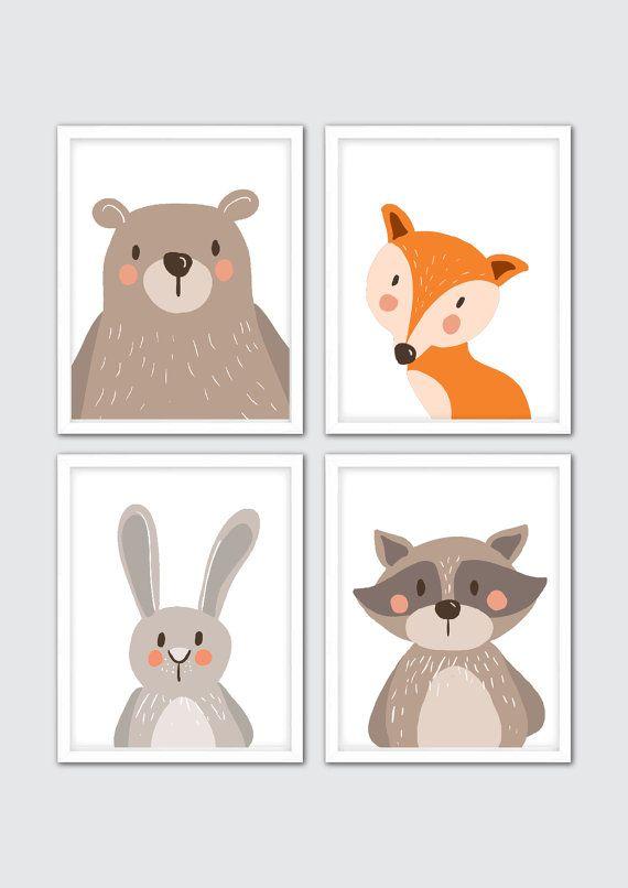 Animals Nursery Art Woodland Animals Nursery by RomeCreations