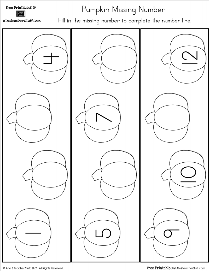 Pumpkin Number Line with missing numbers and with all