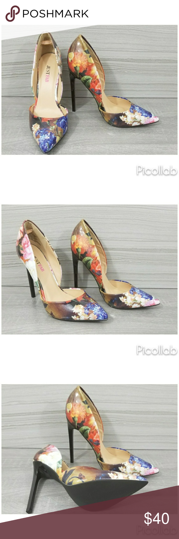 Floral D'orsay Pumps Double d'orsay with a pointed toe and a lacquered heel.  Patent Leather JustFab Shoes Heels