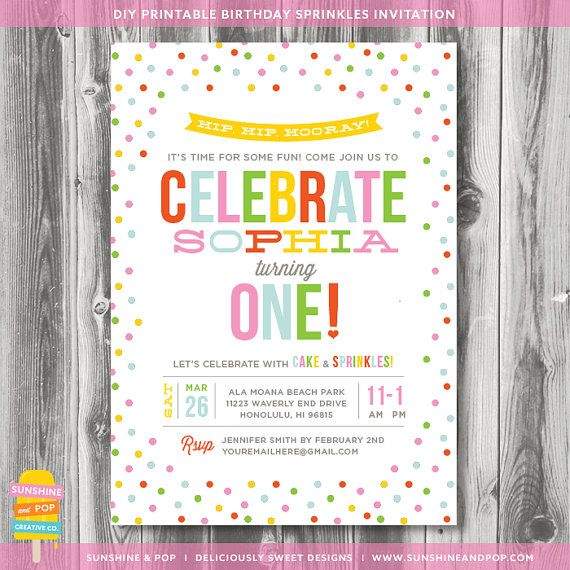 Adorable 1st Birthday Sprinkle or Confetti Party Invitation Great - fresh invitation card for first birthday of baby girl