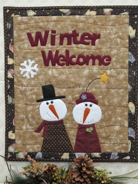 Snowman Wall Quilt Quilted Wall Hanging Snow Couple