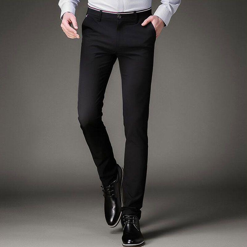a73a914548 Earoomze Moda 2017 Primavera Trajes De Vestir Pantalones de Corea Slim Fit  Flaco Negro Pantalones de Hombre Casual Elásticos Apretados Pantalones de  Trabajo