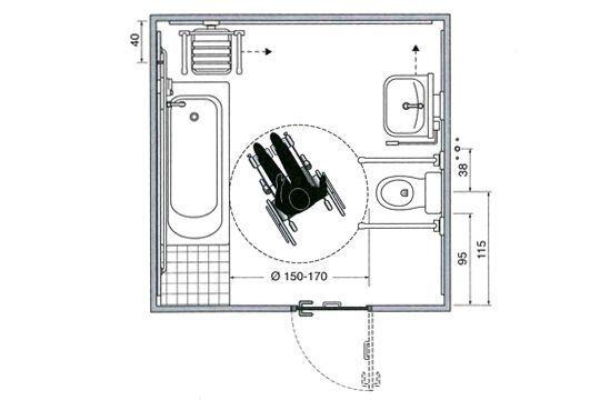 Les plans d 39 une salle de bains am nag e pour un fauteuil for Salle de bain pmr