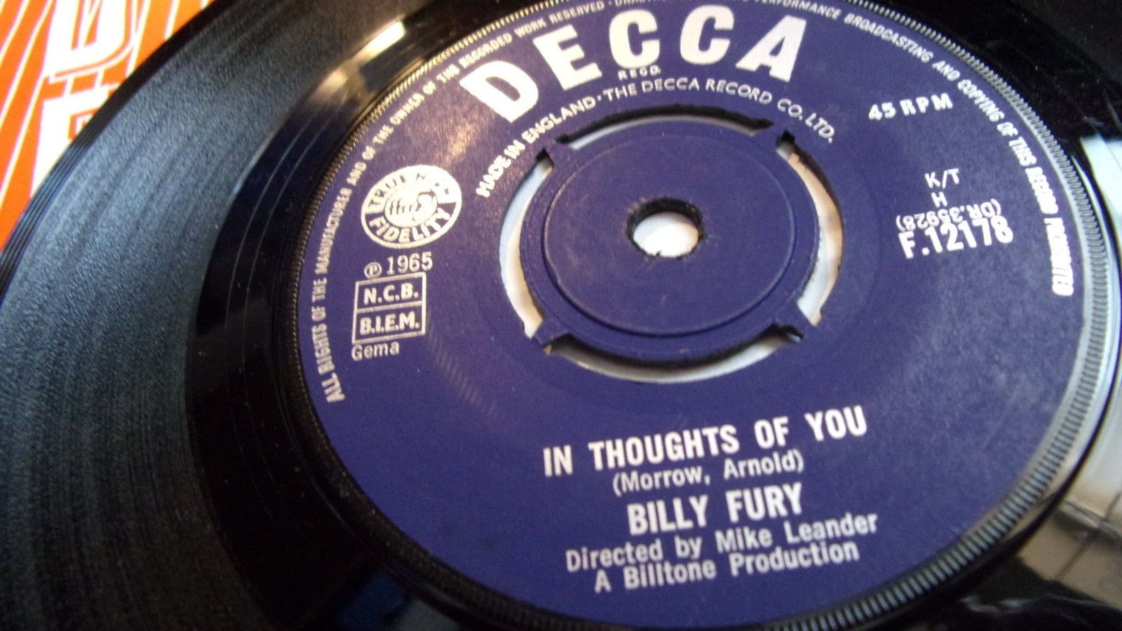 Billy Fury - In thoughts of You on Ebay Oct 2016