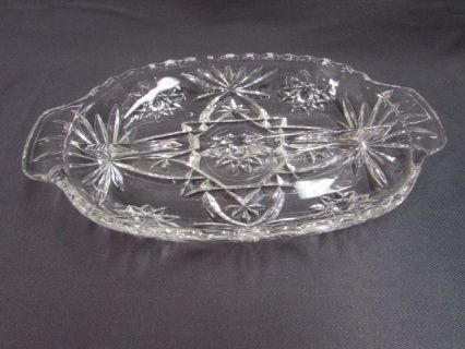 Vintage Anchor Hocking Prescut 2 Part Relish Dish Clear Pressed Glass Star Of David Relish Tray Vintage Pressed Glass Relish Trays Vintage Glassware