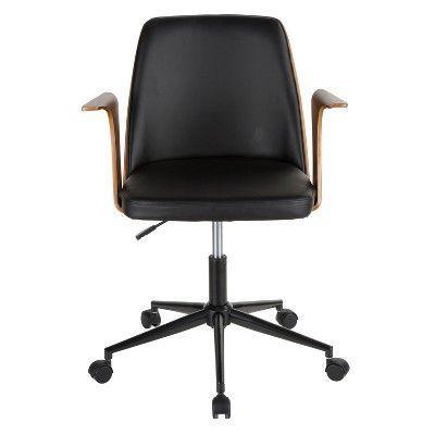 Verdana Mid Century Modern Office Chair Walnut Black Brown Black