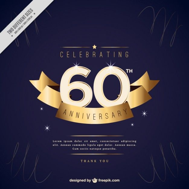 Pin by blanca salgado on just design pinterest anniversary sixty anniversary invitation with golden ribbon premium vector stopboris Choice Image