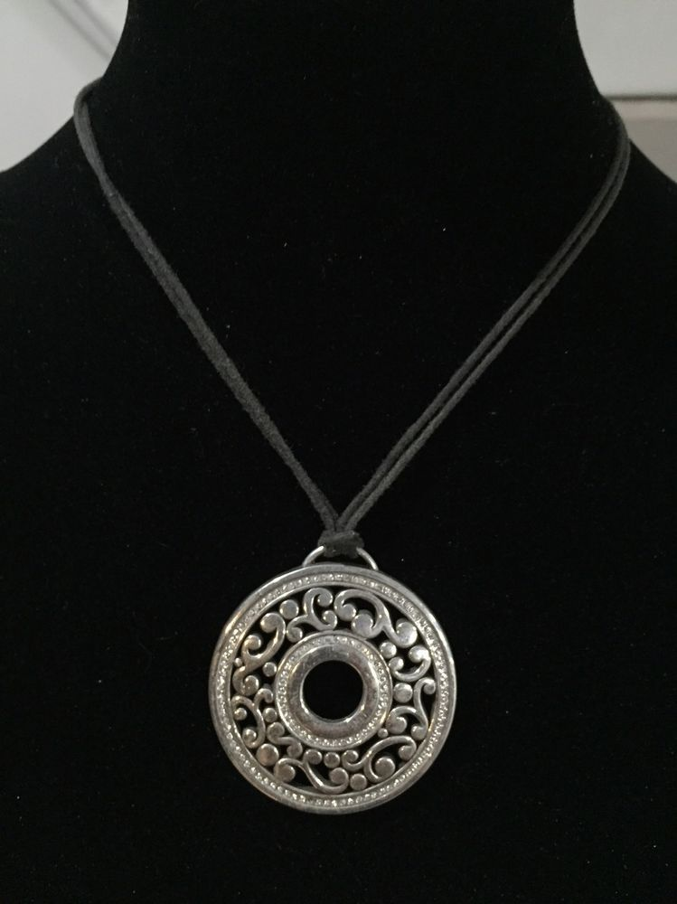 Retired brighton silver round scroll pendant crystals necklace 16 retired brighton silver round scroll pendant crystals necklace 16 20 ebay mozeypictures Images