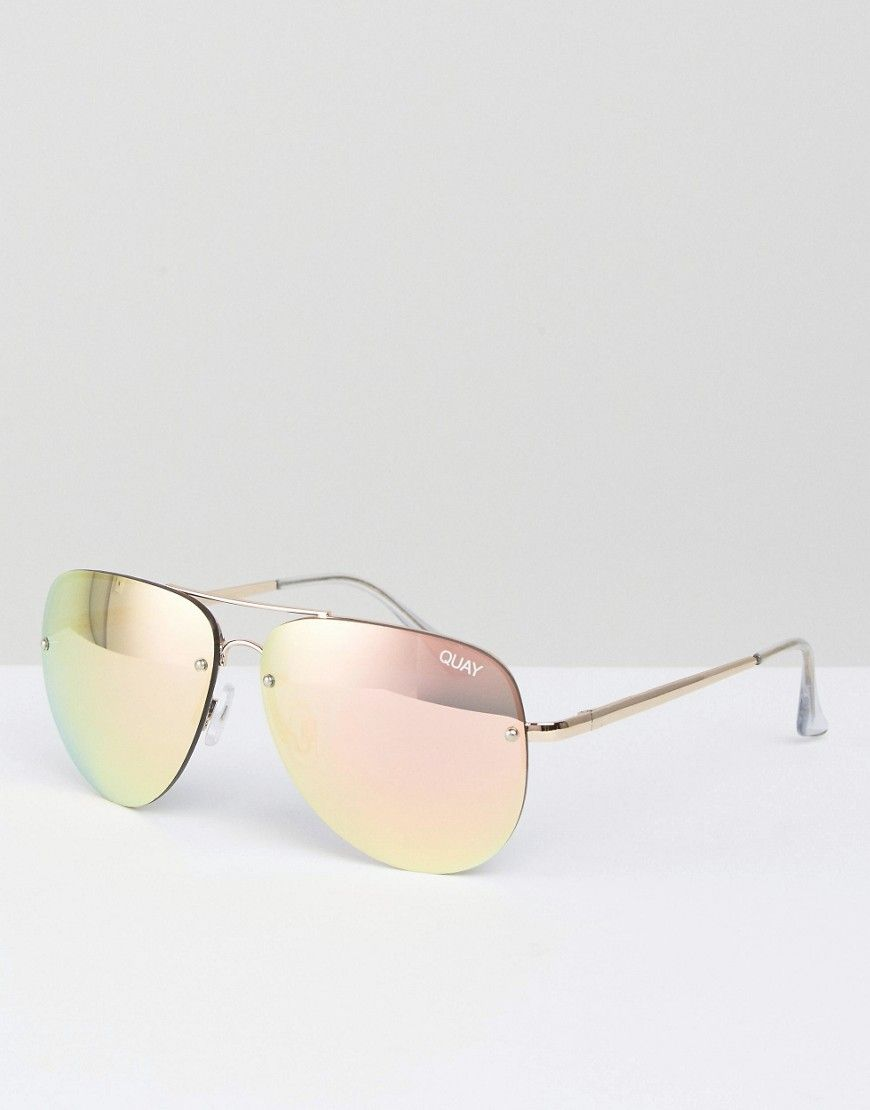 53e1da6f57e Image 1 of Quay Australia Muse Pink Mirror Oversized Aviator Sunglasses