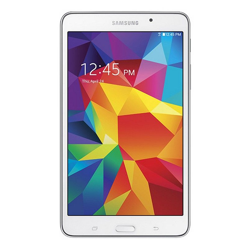 "Tablet Samsung Galaxy Tab 4 7.0 blanca con pantalla de 7"" TFT WXGA, Android 4.4.2 KitKat, procesador Quad-Core a 1.2 GHz, 1.5 GB RAM, 8 GB internos, ranura para microSD, cámara de 3.15 MP, cámara frontal de 1.3 MP, batería de 4000 mAh, GPS, Wi-Fi, Bluetooth y altavoces estereo."