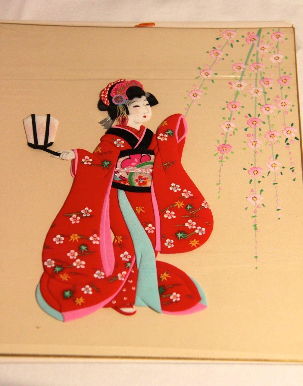 Vintage Japanese Fabric Geisha Girl w Lantern Embellished Picture ...