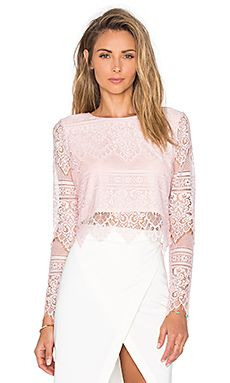 2c54031d986 Shop for Bobi BLACK Lace Long Sleeve Crop Top in Blush at REVOLVE. Free 2-3  day shipping and returns, 30 day price match guarantee.
