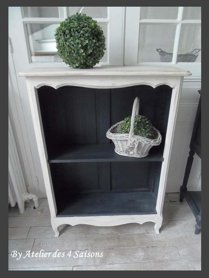 console biblioth que bibus atelierdes4saisons meuble d 39 appoint patin gris perle blanc poudr. Black Bedroom Furniture Sets. Home Design Ideas