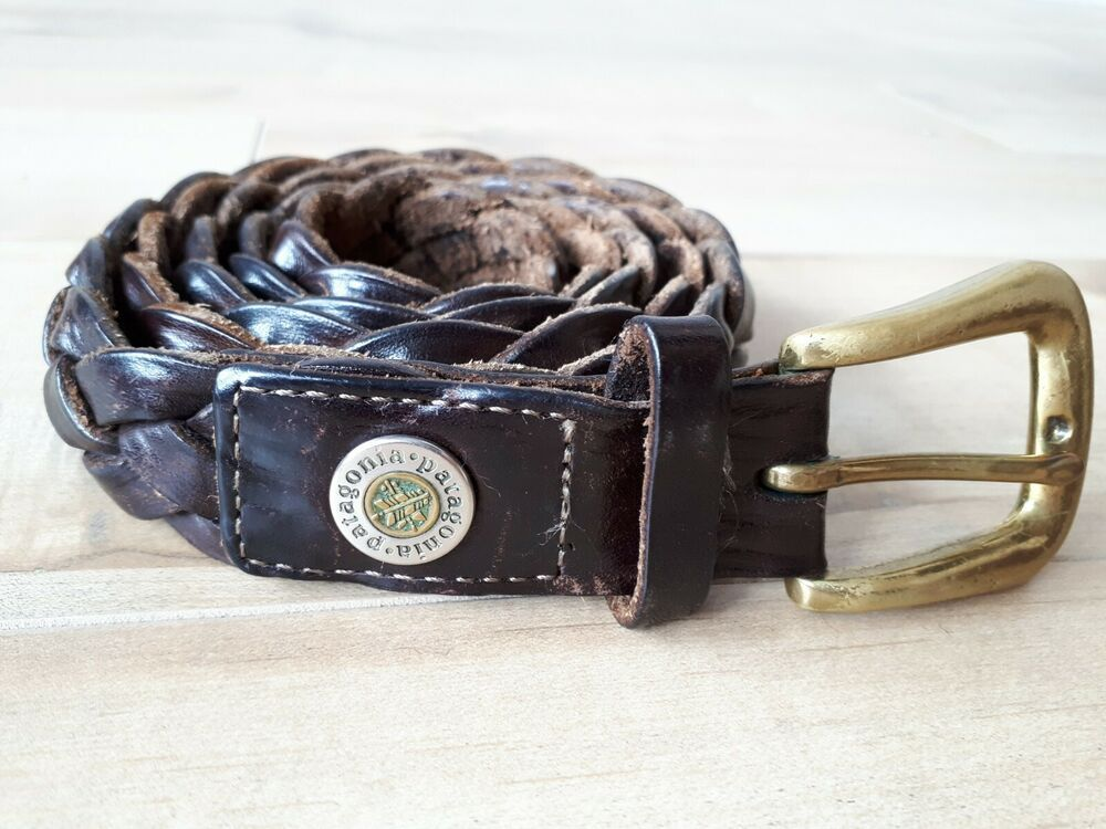 Mens PATAGONIA Braided Brown Leather Belt Size 40