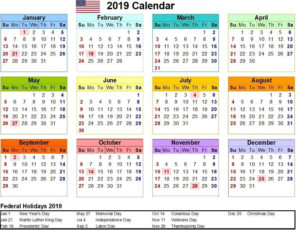 Colorful 2019 Calendar Holidays in United States. usa