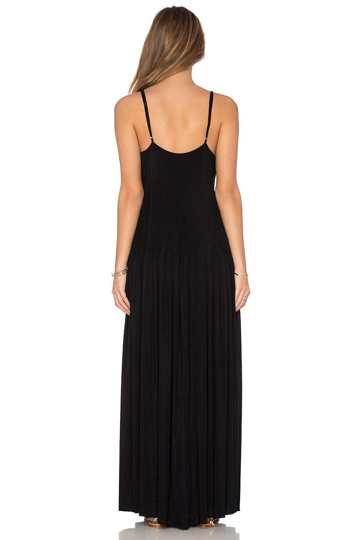 Indah uma pleat u button maxi dress em preto revolve vestido